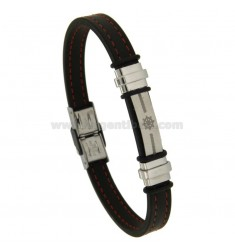 BRACELET IN LEATHER WITH YET CENTRAL STEEL BRUNITO