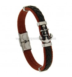 BRACELET WITH LEATHER ROPE AND STILL IN CENTRAL STEEL BRUNITO