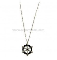 CHAIN CABLE 50 CM Pendant RUDDER AND 18 MM STEEL AND TWO.TONE ZIRCONE