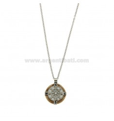 CHAIN CABLE 50 CM AND CHARM ROUND 18 HELM MM STEEL TWO TONE, POLISH AND ZIRCONE