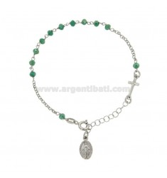 ROSARY BRACELET WITH STONES IN SILVER RHODIUM TIT 925 CM