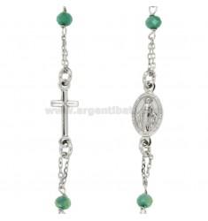 Collar del rosario de recorrer con piedras en plata del rodio TIT CM 50 925