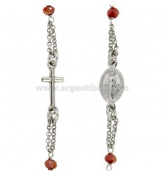ROSARY NECKLACE TO TOUR WITH STONES IN SILVER RHODIUM TIT 925 CM 50
