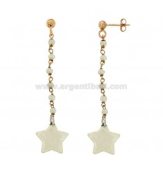 EARRINGS WITH STONES AND STAR PENDANT ENAMELED SILVER COPPER TIT 925