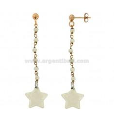PENDIENTES CON PIEDRAS Y ESMALTADO colgante de la estrella de cobre de plata TIT 925