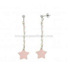 EARRINGS WITH STONES AND STAR PENDANT ENAMELED SILVER RHODIUM TIT 925