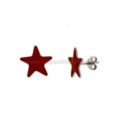 LOBO pendientes de la estrella GLAZED plata del rodio TIT 925