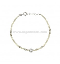 BRACELET WITH BEADS AND CRYSTAL BALL WITH SILVER RHODIUM TIT 925 CM 18