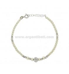 ARMBAND mit Perlen und Crystal Ball mit Silber rhodiniert TIT 925 CM 18