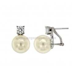 EARRINGS BALL 12 MM PEARL AND ZIRCON SILVER RHODIUM TIT TIT 925
