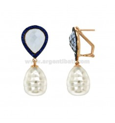Earrings DROP PEARL BAROQUE GRAY SILVER COPPER TIT 925 ‰ AND BLUE ZIRCONIA