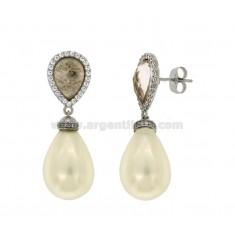 DROP pendientes de perlas de plata del rodio TIT 925 ‰ y circonio