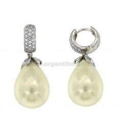 Klapp.Creolen DROP mit einer Perle IN SILBER RHODIUM TIT 925 ‰ und Zirkoniumdioxid
