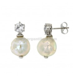 EARRINGS PEARL BAROQUE SILVER RHODIUM TIT 925 ‰ AND ZIRCONE