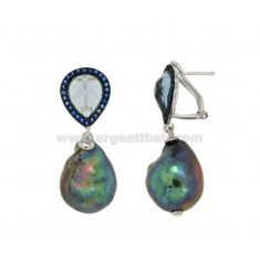 Earrings DROP PEARL BAROQUE GRAY SILVER RHODIUM TIT 925 ‰ AND BLUE ZIRCONIA