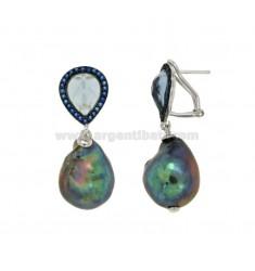 Pendientes de perlas BARROCO GRIS PLATA RODIO TIT 925 ‰ y azul ZIRCONIA