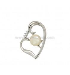 Anhänger Herz mit PEARL 8,5 MM Silber rhodiniert TIT 925 ‰