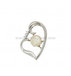 PENDANT HEART WITH PEARL 8,5 MM SILVER RHODIUM TIT 925 ‰