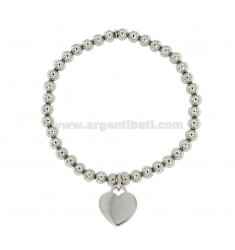 BRACELET SPRING BALL 5 MM WITH A HEART Hang MM 16x15 A PLATE IN AG TIT 925 RHODIUM