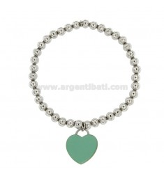 BALL SPRING BRACELET 5 MM WITH HEART PENDANT 20X18 MM IN PLATE WITH GREEN ENAMEL TIFFANY IN AG RHODIUM-PLATED TIT 925