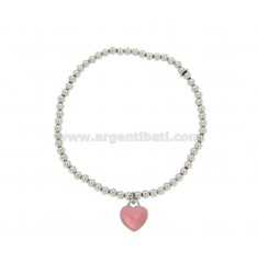 BALL SPRING BRACELET 3 MM WITH HEART PENDANT 11X10 MM IN PLATE WITH PINK ENAMEL IN AG RHODIUM-PLATED TIT 925
