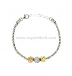 BRACELET POP CORN WITH BALLS TRICOLORE SILVER RHODIUM TIT 925 ‰ CM EXTENDING FROM 18 TO 20