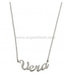 ROLO NECKLACE &39CM 45 WITH NAME IN REAL SILVER RHODIUM TIT 925 ‰