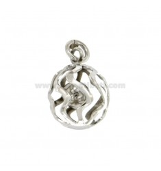 AUFRUF ANGELS PENDANT 16 MM traforato WAVE SILVER RHODIUM TIT 925 ‰