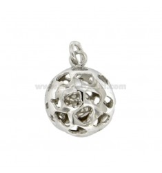 CALLING ANGELS PENDANT 20 MM WITH HEARTS PERFORATED SILVER RHODIUM TIT 925 ‰
