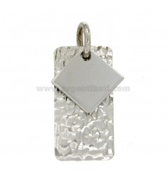 PENDIENTE RECTANGULAR MM 32x16 plata del rodio TIT 925 ‰