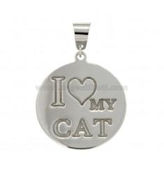 CIONDOLO TONDO MM 23 I LOVE MY CAT IN ARGENTO RODIATO TIT 925‰