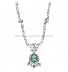 NECK WITH TENNIS ZIRCONS MM 3 AND HYDROTHERMAL STONE OVAL PENDANT CELESTE SILVER RHODIUM TIT 925 ‰ CM 45