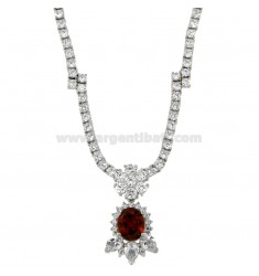 NECK WITH TENNIS ZIRCONS MM 3 AND HYDROTHERMAL STONE OVAL PENDANT RED SILVER RHODIUM TIT 925 ‰ CM 45