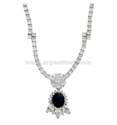 NECK WITH TENNIS ZIRCONS MM 3 AND HYDROTHERMAL STONE OVAL PENDANT BLUE SILVER RHODIUM TIT 925 ‰ CM 45