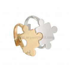 DIVISIBLE RINGS WITH PUZZLE IN RHODIUM SILVER AND COPPER TIT 925 ‰ MEASURES ADJUSTABLE