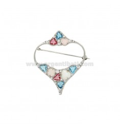PIN TO HEART MM 53X42 SILVER RHODIUM TIT 925 ‰ STONES AND HYDROTHERMAL ZIRCONS