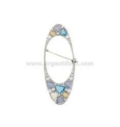 A PIN ELLISSE MM 67X27 SILVER RHODIUM TIT 925 ‰ STONES AND HYDROTHERMAL ZIRCONS