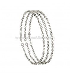 BRACELET PCS 3 ROLO 'MESH DIAMETER MM 2.6 THICKNESS MM 0.8 IN RHODIUM-PLATED SILVER TIT 925 ‰ CM 19
