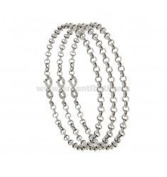 BRACELET PCS 3 ROLO 'MESH DIAMETER MM 3.4 THICKNESS MM 0.9 IN RHODIUM-PLATED SILVER TIT 925 ‰ CM 19