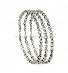 BRACELET PCS 3 ROLO 'MESH DIAMETER MM 4.4 THICKNESS MM 1.5 IN RHODIUM-PLATED SILVER TIT 925 ‰ CM 20