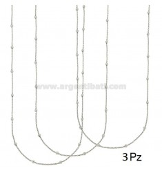LACE PZ 3 CHAIN AND BALL 2.5 MM ALTERNATE SILVER RHODIUM TIT 925 ‰ CM 45