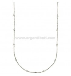 LACE CHAIN AND BALL 2,5 MM ALTERNATE IN SILVER RHODIUM TIT 925 ‰ 90 CM