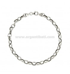 BRACELET CABLE MM 7X5 SHEET 1.4 MM 20 CM IN RHODIUM SILVER TITLE 925 ‰