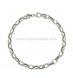 BRACELET CABLE 8X5 SHEET MM MM 2 CM 20 IN RHODIUM SILVER TITLE 925 ‰