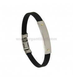 BLACK RUBBER BRACELET WITH STEEL PLATE WITH 2 BRASS POINTS