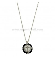 NECKLACE CABLE 50 CM WITH CHARM ROUND 18 MM WITH STILL IN STEEL POLISH, ZIRCONE AND ROPE