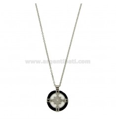 NECKLACE CABLE 50 CM WITH CHARM ROUND 18 MM WITH ROSE OF THE WINDS IN STEEL POLISH, ZIRCONE AND ROPE