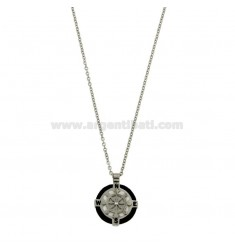 NECKLACE CABLE 50 CM WITH CHARM ROUND 18 MM WITH HELM STEEL POLISH, ZIRCONE AND ROPE
