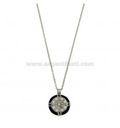 CABLE 50 CM NECKLACE WITH CHARM ROUND 18 MM WITH HELM STEEL POLISH, ZIRCONE AND ROPE