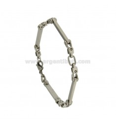 BRACELET IN STAINLESS STEEL WITH SATIN SEGMENTS